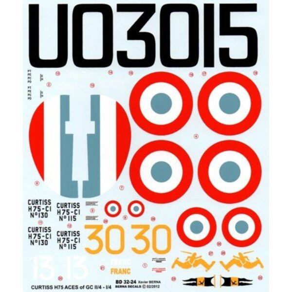 Decals Curtiss H-75 (P-36) Hawk Aces of GC I/4 & II/4 : Hotellier & Joire 115 Plubeau 130