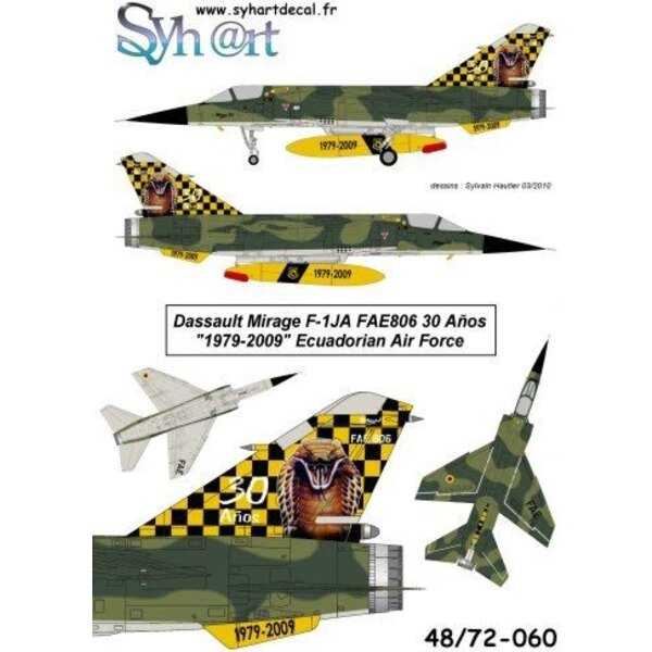Decals Dassault Mirage F-1JA FAE806 30 Aíos 1979-2009 Ecuadorian AF. On October 2009 for the 30 years servicing of the Mirage F-
