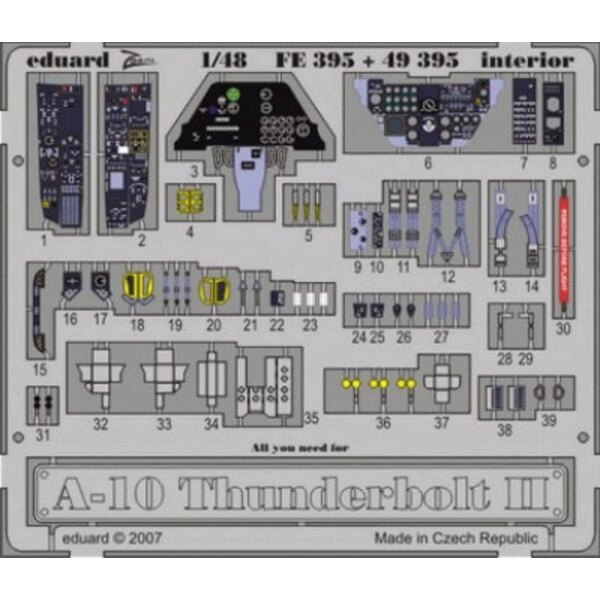 Fairchild A-10 Thunderbolt II Interior (self adhesive) PRE-PAINTED IN COLOUR! (designed to be assembled with model kits from Hob