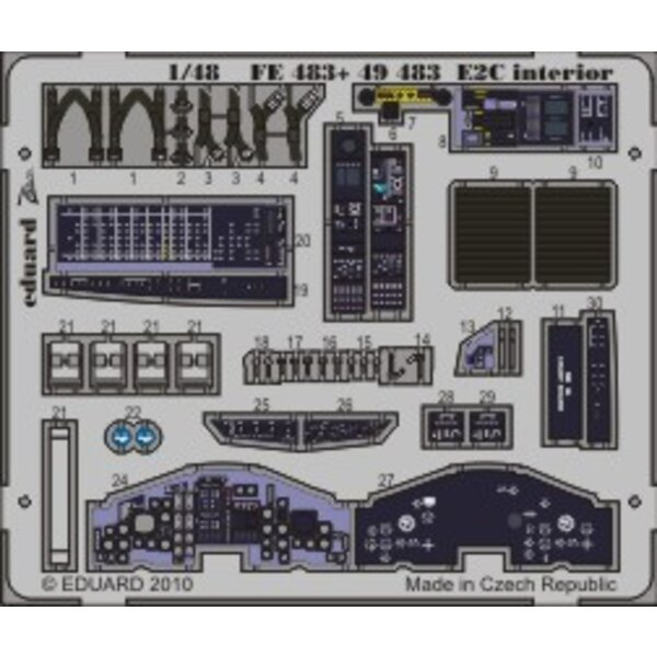 Grumman E-2C Hawkeye interior (self adhesive) (designed to be assembled with model kits from Kinetic)
