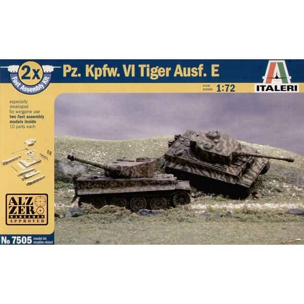 Pz.Kpfw.VI Tiger I Ausf.E Pack includes 2 snap together tank Kits
