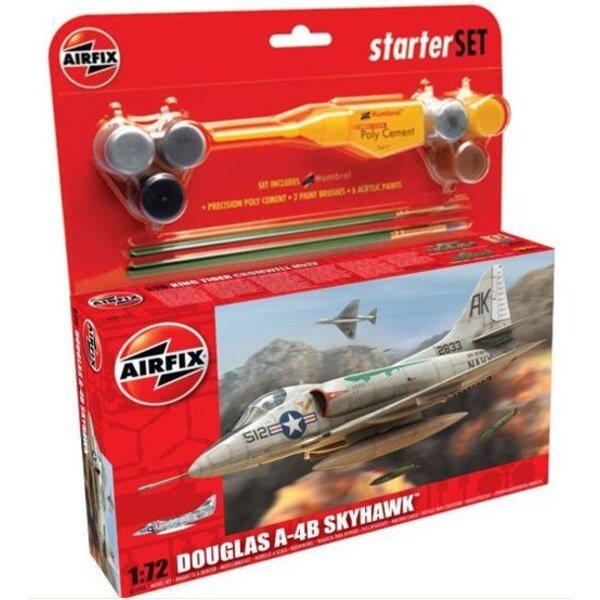 Douglas A-4B Skyhawk Starter Set includes Acrylic paints, brushes and poly cement