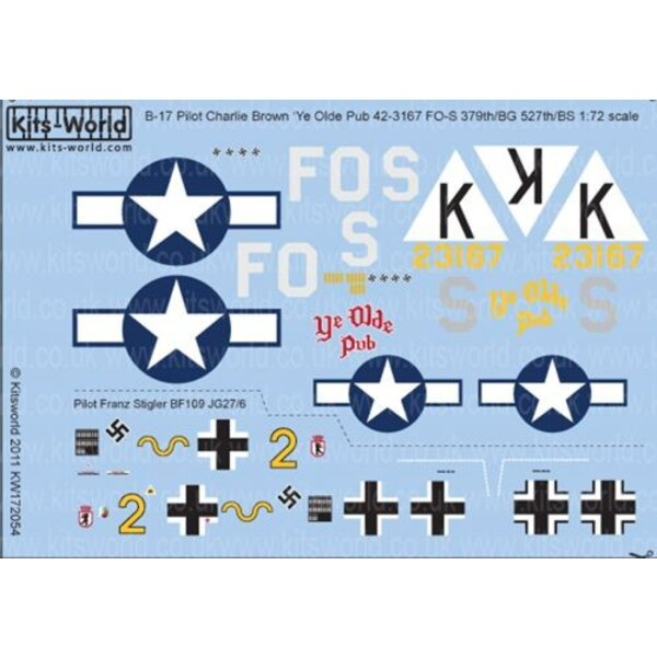 Decals Boeing B-17F Fortress 42-3167 FO-S 527thBS/ 379thBG Capt Charlie Brown 'Ye Olde Pub'; attacked by Messerschmitt Bf 109G Y