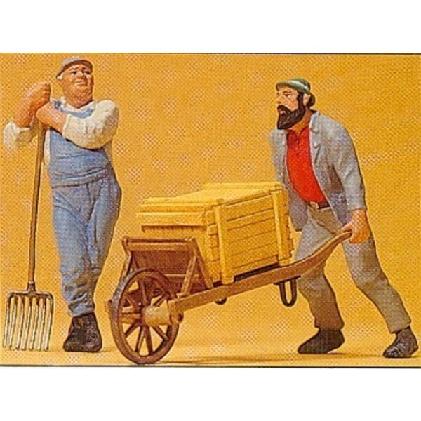 Workers with wheelbarrow and draws