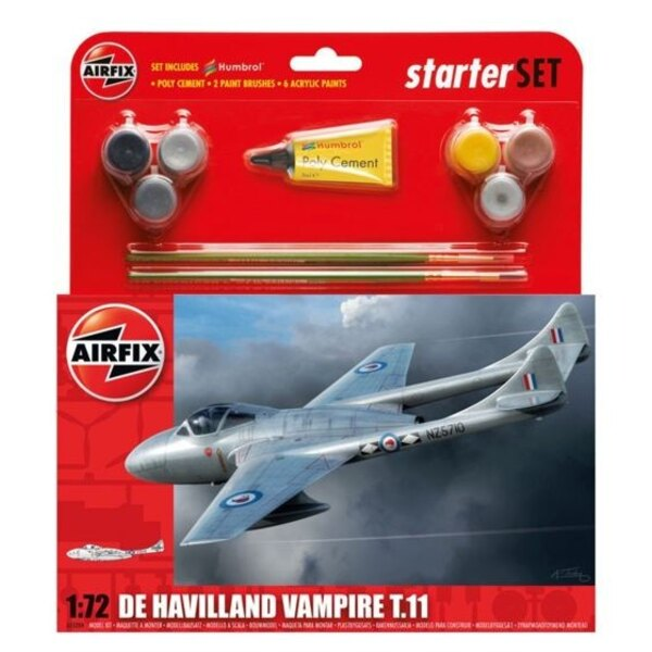 De_Havilland Vampire T.11 Starter Set includes Acrylic paints, brushes and poly cement