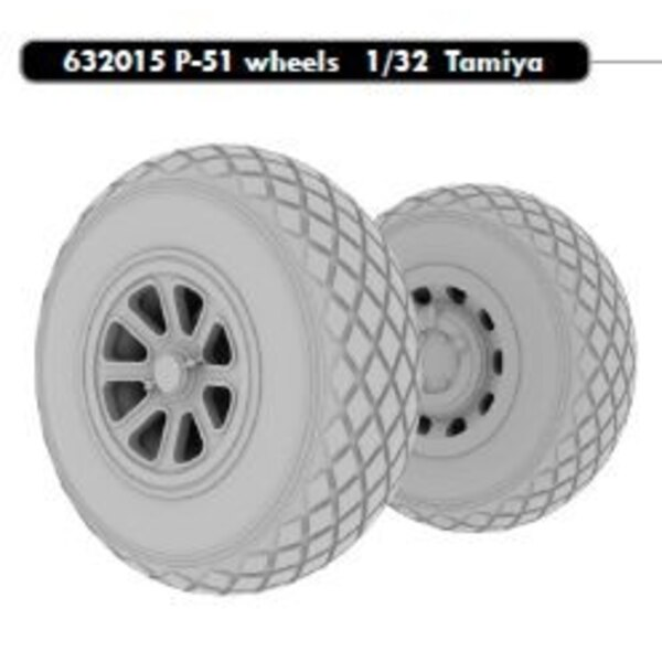 North-American P-51D Mustang wheels (designed to be used with Tamiya kits)