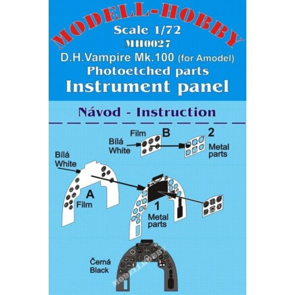 de Havilland Vampire Mk.100 Instrument panels (designed to be used with A Model kits)