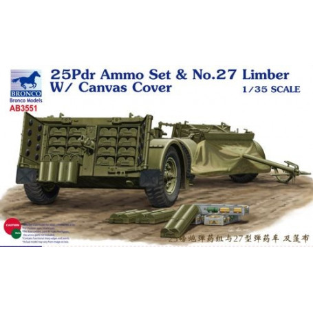 25-pounder Field Gun Ammunition set No.27 Limber with Canvas Cover (designed to be used with Cyber-Hobby and Tamiya kit TA35046)