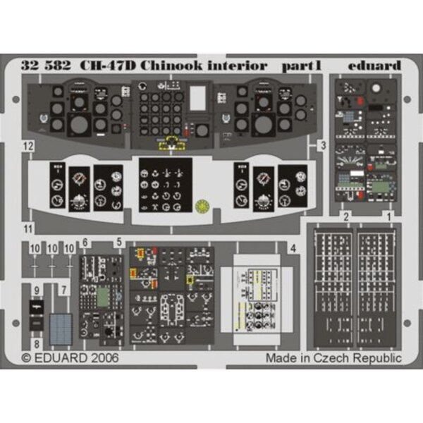 Boeing CH-47D Chinook interior PRE-PAINTED IN COLOUR! (designed to be assembled with model kits from Trumpeter)