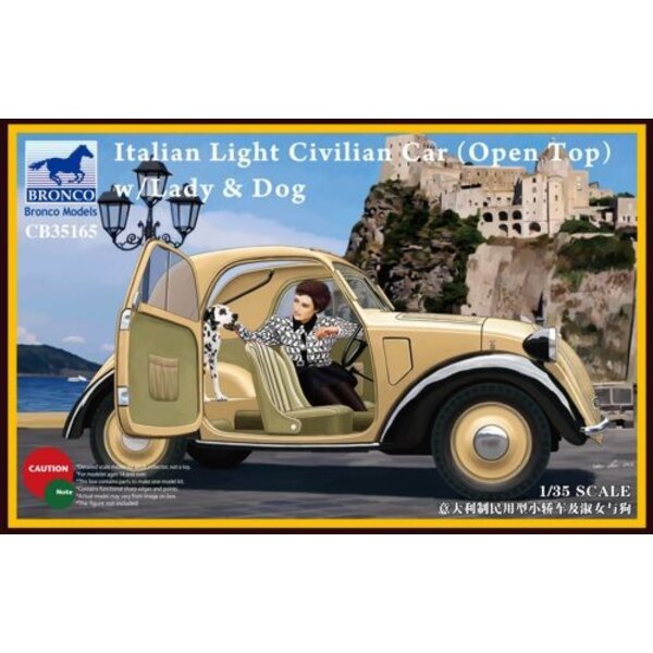 Italian Civilian Light Car ( Open Top) with Lady / Dog
