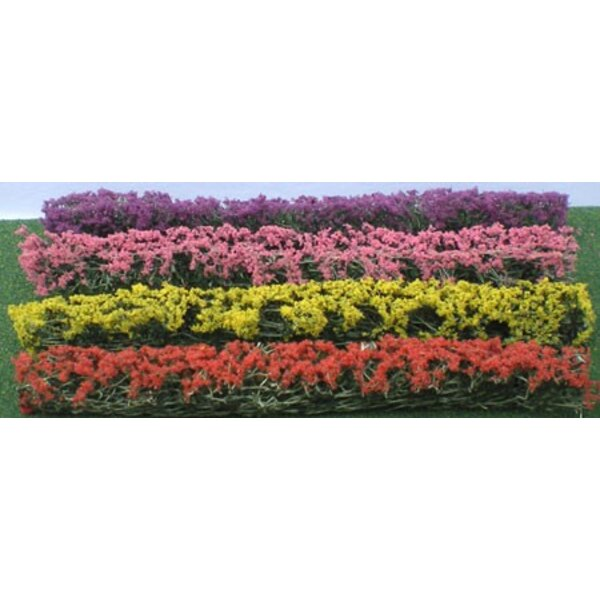 HEDGE PLANTS ASSORTED COLORFUL 125x9x15mm - HO SCALE