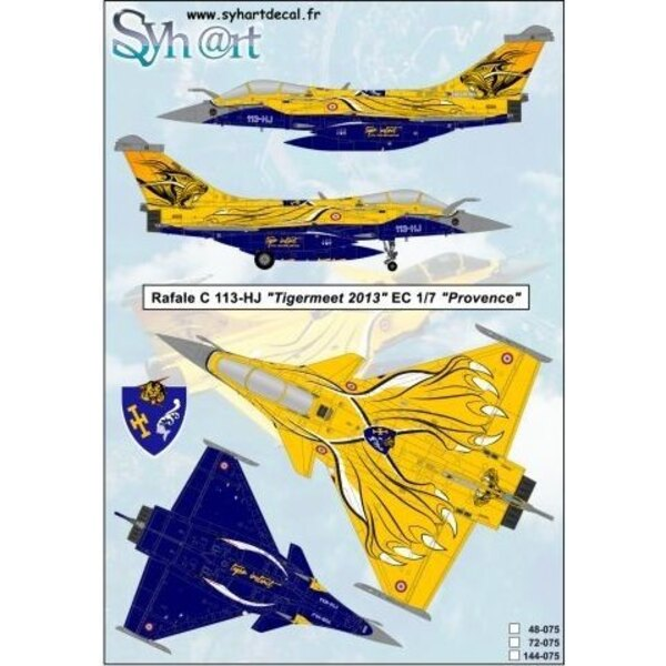Decals Dassault Rafale C 113- HJ 2013 Tigermeet EC1 / 7 Provence To save the Tiger tradition of the EC 1/12 Cambresis Effective