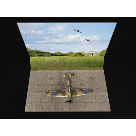 Battle of Britain Airfield Set V.2 (Grass Wall) with Bonus 3D Component: Three 1/72 sheets (approx dimensions of base and backdr