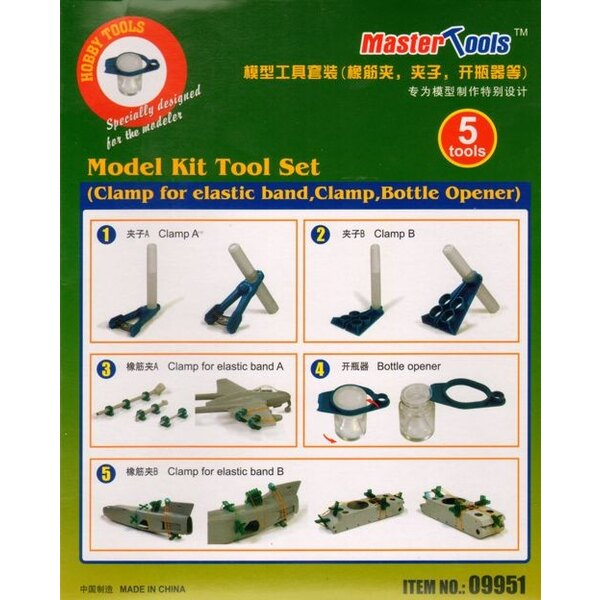 Model Kit Tool Set â € Clamp for elastic band, Clamp, Bottle Opener
