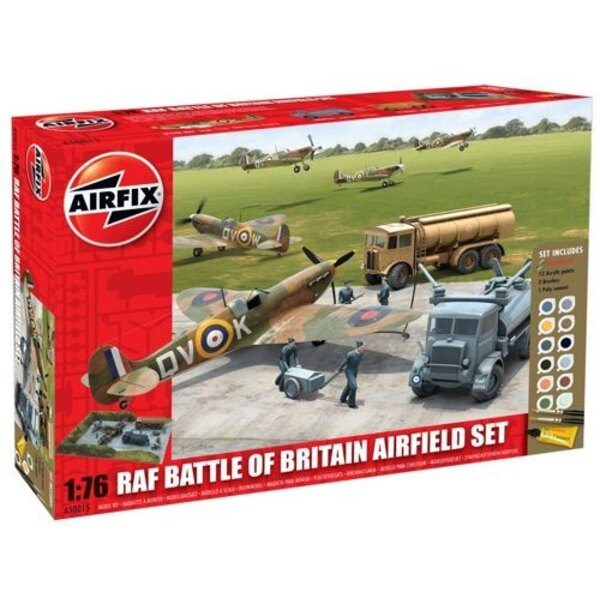 RAF Battle Of Britain Airfield Set. Includes 12 Acrylic Paints 2 Brushes and 1 Poly Cement.