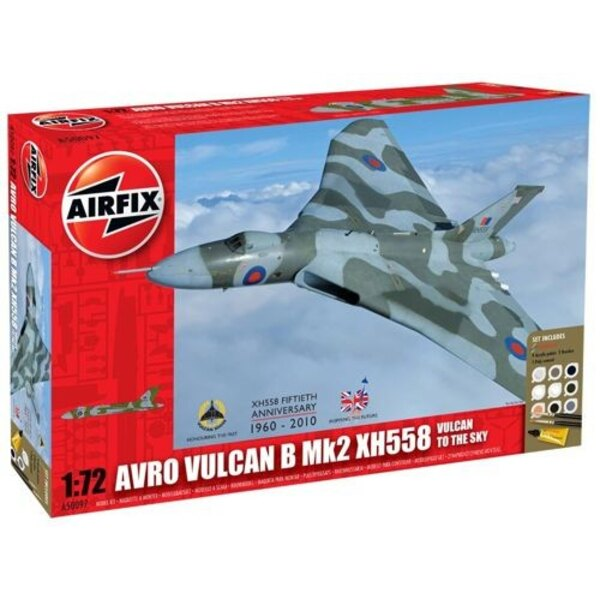 Avro Vulcan to the Sky - Avro Vulcan Mk.2 XH558. Set includes 9 Acrylic Paints 2 Brushes and 1 Poly Cement.