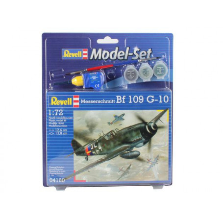 Messerschmitt Bf 109 Set - box containing the model, paints, brush and glue