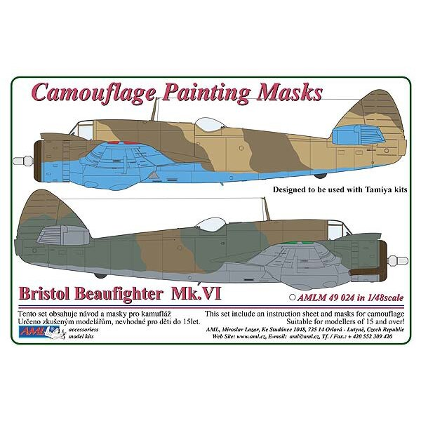 Bristol Beaufighter Mk.VI - 2 Variant Camouflage pattern paint mask (designed to be used with Tamiya kits