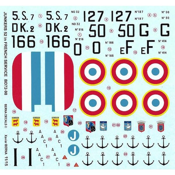 Decals Junkers Ju-52/3m (AAC-1 'Toucan') French Navy & Air Force