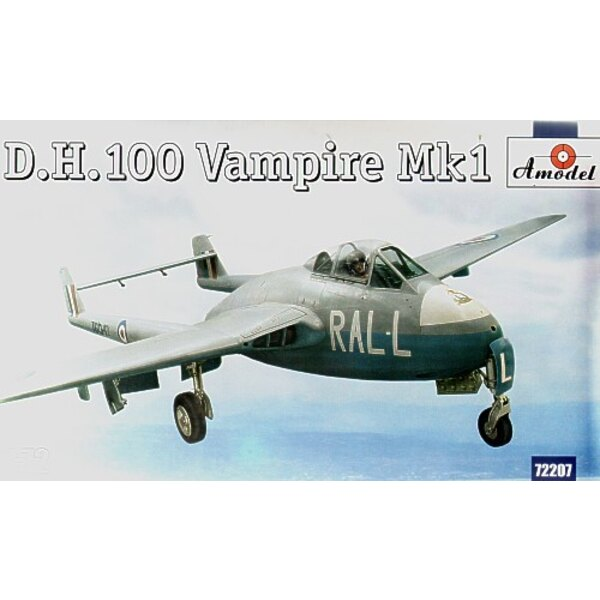 de Havilland DH 100 Vampire Mk.1 New mould. with decals for 3 aircraft TG297 ZY-C 247 Squadron 1946 VF306 AP-V 130 Squadron Odih