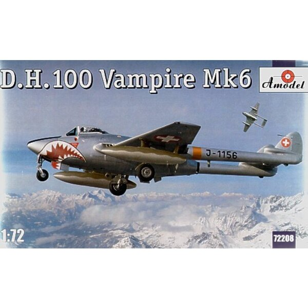 de Havilland DH 100 Vampire Mk.6 New mould with pointed nose and decals for J-1156 of the Swiss AF.