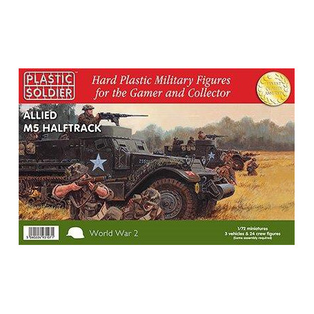 3 x 1/72nd M5 Halftracks with options to build either M5 or M5A1 versions with 8 British/Commonwealth crew figures per vehicle a