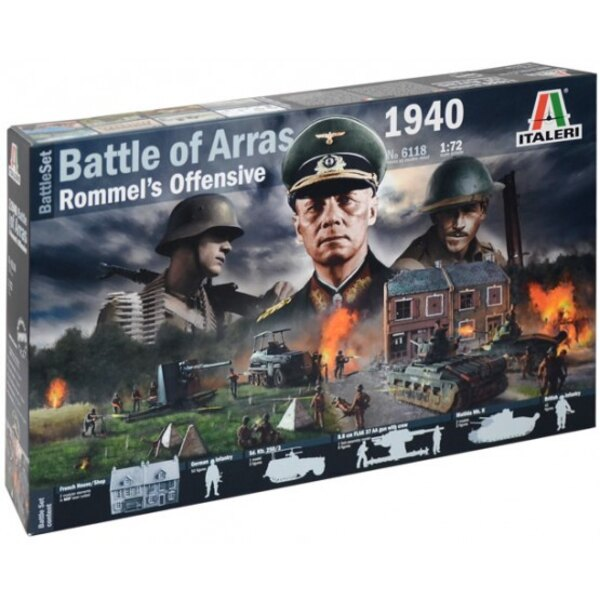 WWII Battleset Rommel Offensive 1940.The box contains: 1x MDF House 1x MDF Shop 42x British Infantry 50x German Infantry 2x Mat